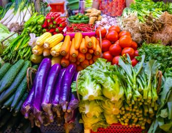 farmers market with colorful vegetables