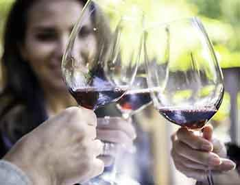 Friends drinking red wine outside