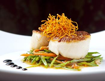Scallops on a small bed of greens