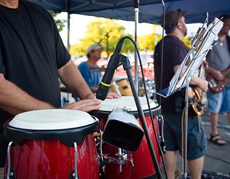 Band playing music outside