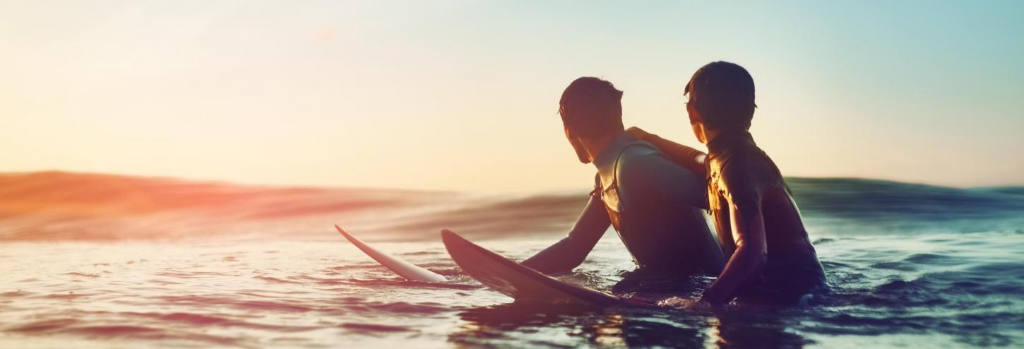 Two Surfers Hanging at Sunset