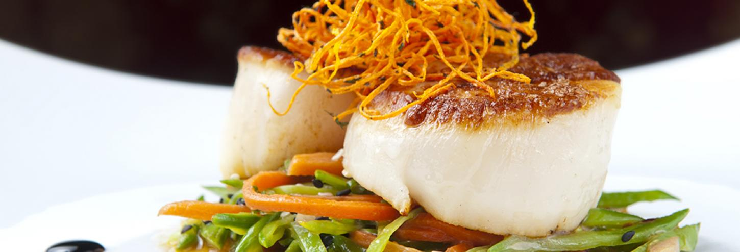 Fresh Scallops at a Seafood Restaurant