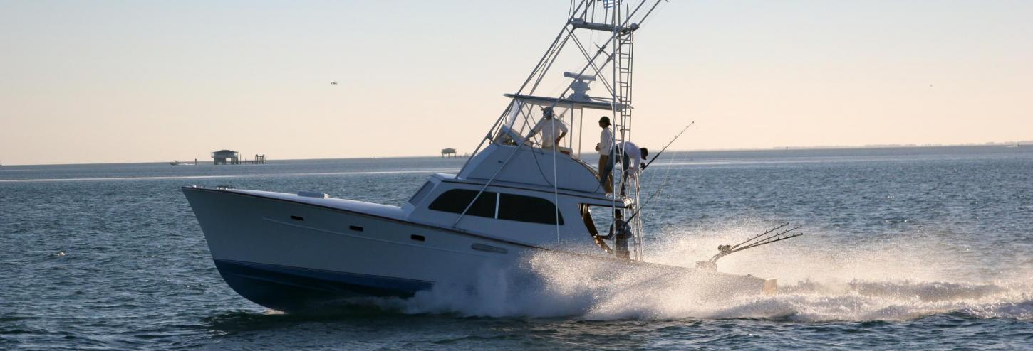 Fishing charter boat out in the ocean