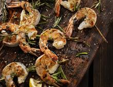 Grilled Shrimp on a Wooden Platter