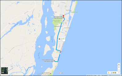 Map to Fort Fisher Military Recreation Center in Kure Beach.