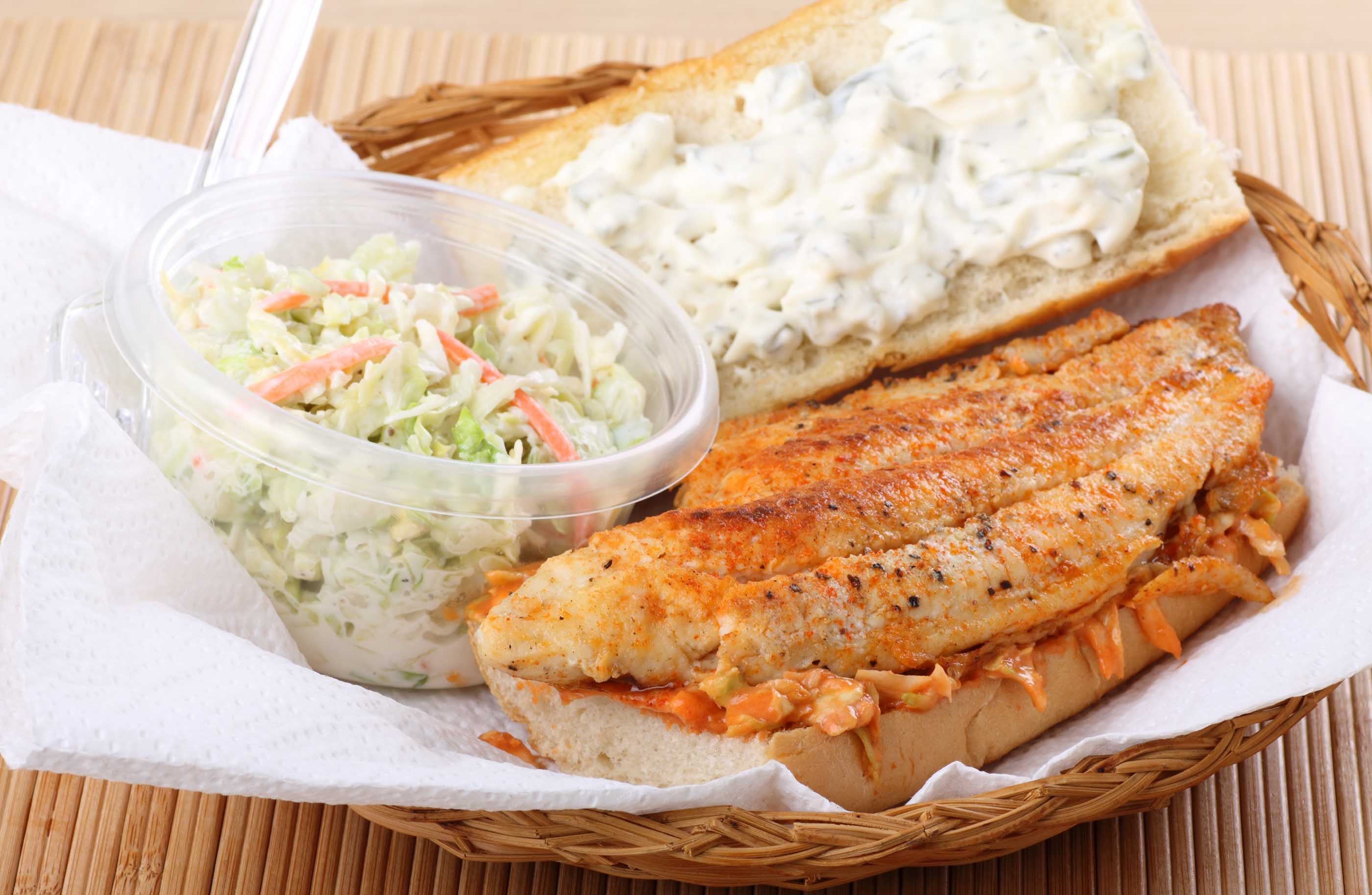 Fish sandwich with coleslaw