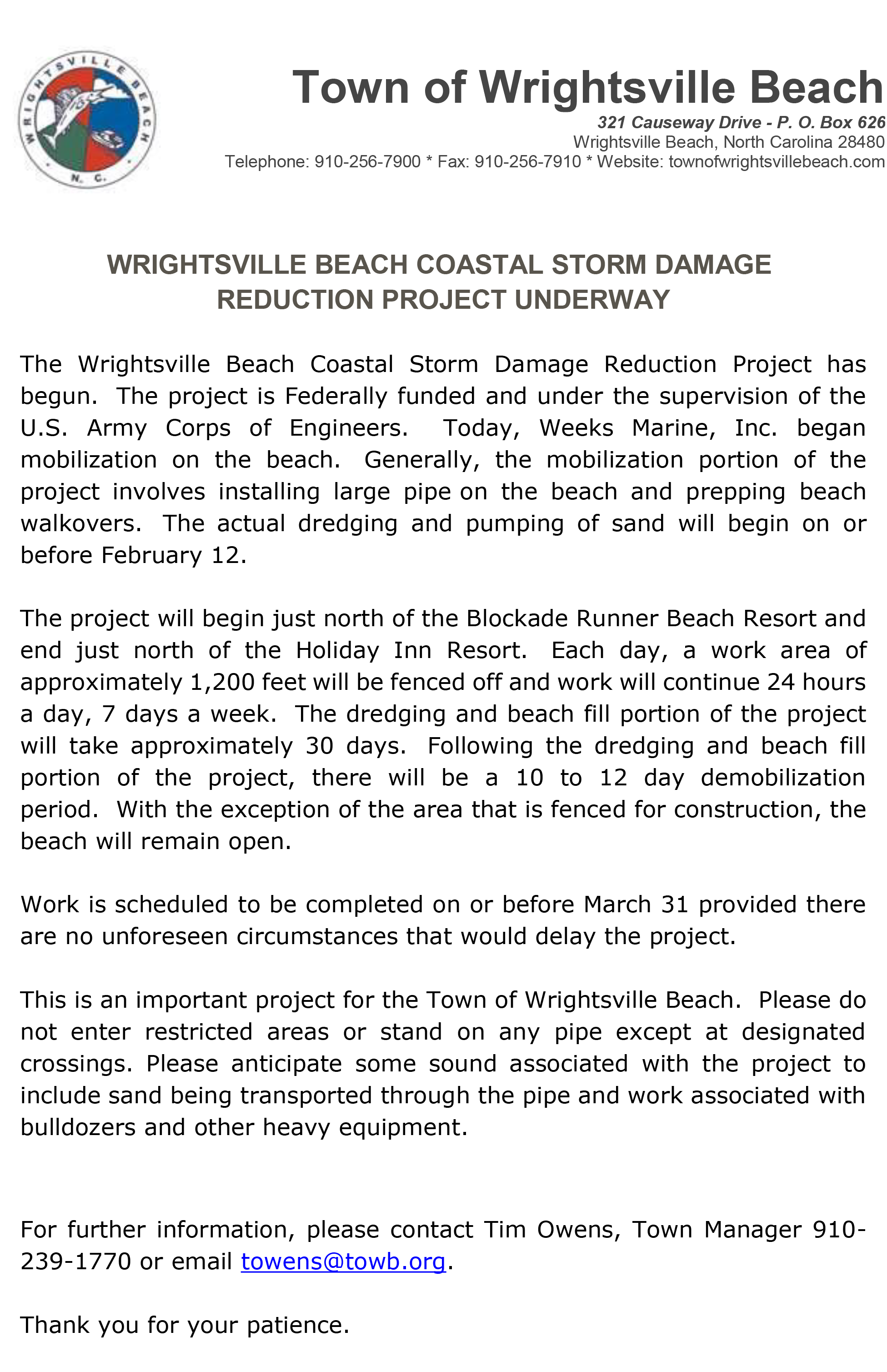 Town of Wrightsville Beach Announcement of Coastal Storm Damage Reduction Project